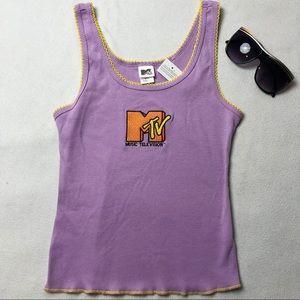 NWT MTV Logo Embroidered Tank Top Purple